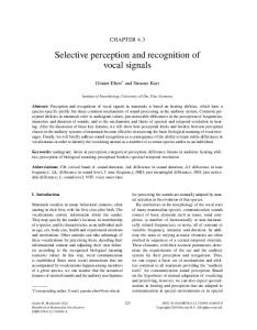 Selective perception and recognition of vocal signals
