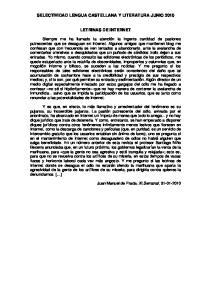 SELECTIVIDAD LENGUA CASTELLANA Y LITERATURA JUNIO 2010 LETRINAS DE INTERNET