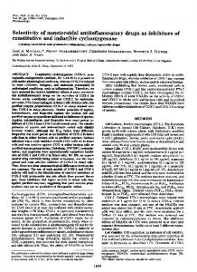 Selectivity of nonsteroidal antiinflammatory drugs as inhibitors of