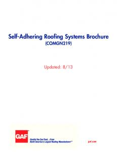 Self-Adhering Roofing Systems Brochure