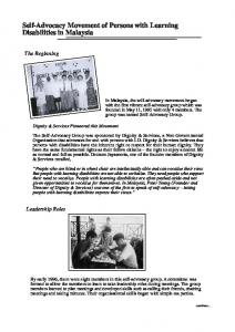 Self-Advocacy Movement of Persons with Learning Disabilities in Malaysia
