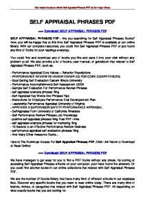 SELF APPRAISAL PHRASES PDF