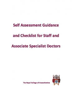 Self Assessment Guidance. and Checklist for Staff and. Associate Specialist Doctors