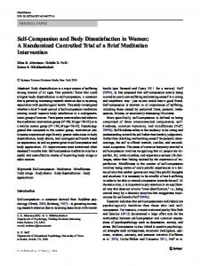 Self-Compassion and Body Dissatisfaction in Women: A Randomized Controlled Trial of a Brief Meditation Intervention