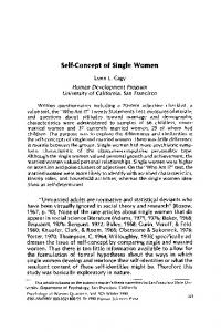 Self-concept of Single Women