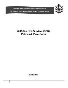 Self-Directed Services (SDS) Policies & Procedures