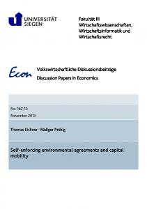 Self-enforcing environmental agreements and capital mobility