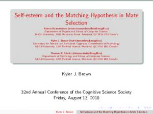 Self-esteem and the Matching Hypothesis in Mate Selection