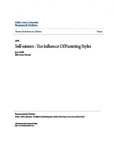 Self-esteem : The Influence Of Parenting Styles