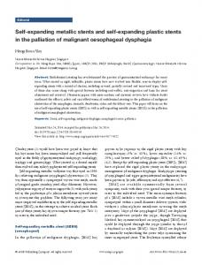 Self-expanding metallic stents and self-expanding plastic stents in the palliation of malignant oesophageal dysphagia