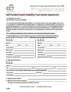 Self-Funded Pooled Disability Trust Joinder Agreement
