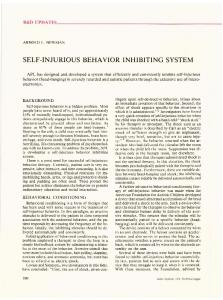 SELF-INJURIOUS BEHAVIOR INHIBITING SYSTEM