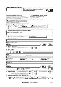 Self-managed superannuation fund annual return 2010