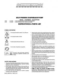 SELF-PRIMING DIAPHRAGM PUMP INSTRUCTIONS & PARTS LIST