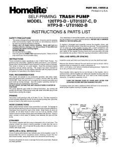 SELF-PRIMING TRASH PUMP MODEL 120TP3-D - UT01537-C, D HTP3-B - UT01602-B INSTRUCTIONS & PARTS LIST