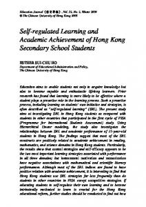 Self-regulated Learning and Academic Achievement of Hong Kong Secondary School Students
