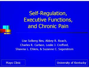 Self-Regulation, Executive Functions, and Chronic Pain