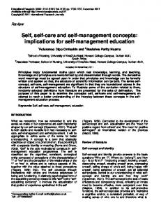 Self, self-care and self-management concepts: implications for self-management education