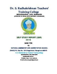 SELF STUDY REPORT (SSR) 2016