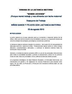 SEMANA DE LA LACTANCIA MATERNA SOMOS LECHEROS