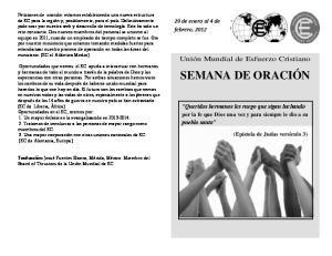 SEMANA DE ORACIÓN. Unión Mundial de Esfuerzo Cristiano. 29 de enero al 4 de febrero, 2012