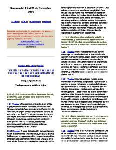 Semana del 15 al 21 de Diciembre 2014