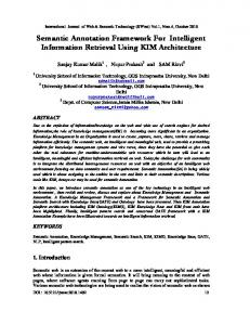 Semantic Annotation Framework For Intelligent Information Retrieval Using KIM Architecture