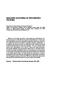 SEMANTIC MATCHING OF WEB SERVICE POLICIES