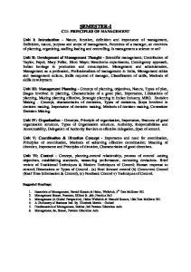 SEMESTER-I C11- PRINCIPLES OF MANAGEMENT