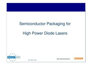 Semiconductor Packaging for. High Power Diode Lasers Seite: 1