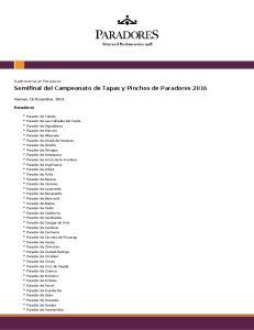 Semifinal del Campeonato de Tapas y Pinchos de Paradores 2016