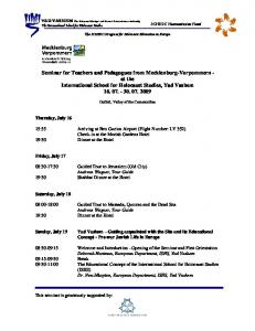 Seminar for Teachers and Pedagogues from Mecklenburg-Vorpommern - at the International School for Holocaust Studies, Yad Vashem