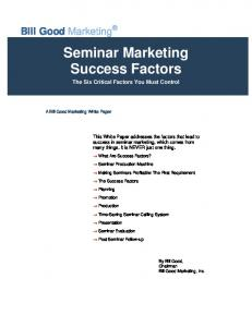 Seminar Marketing Success Factors