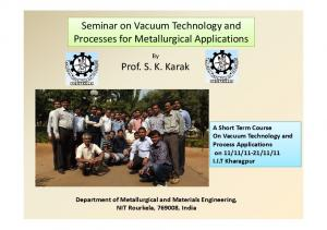 Seminar on Vacuum Technology and