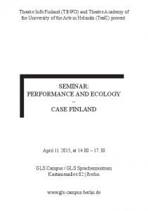 SEMINAR: PERFORMANCE AND ECOLOGY CASE FINLAND
