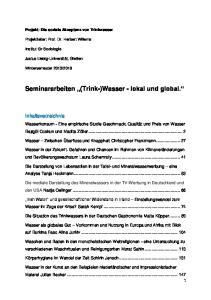 Seminararbeiten (Trink-)Wasser - lokal und global