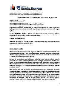 SEMINARIO DE LITERATURA INFANTIL Y JUVENIL