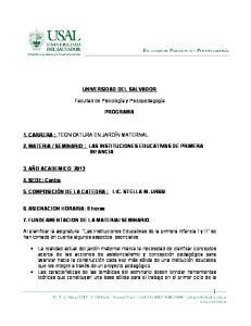 SEMINARIO : LAS INSTITUCIONES EDUCATIVAS DE PRIMERA INFANCIA