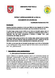 SEMINARIO POST ECCLA TEMA 6 RETOS Y APRECIACIONES DE LA RCC AL DOCUMENTO DE APARECIDA