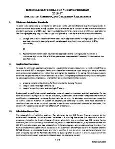 SEMINOLE STATE COLLEGE NURSING PROGRAM APPLICATION, ADMISSION, AND GRADUATION REQUIREMENTS