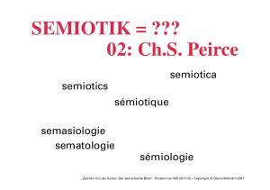 SEMIOTIK =??? 02: Ch.S. Peirce