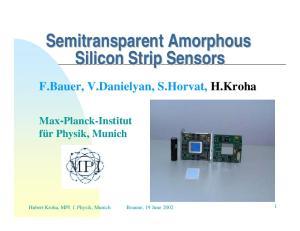 Semitransparent Amorphous Silicon Strip Sensors