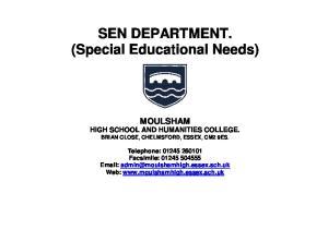 SEN DEPARTMENT. (Special Educational Needs)