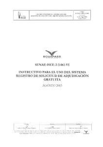 SENAE-I SEE V1 INSTRUCTIVO PARA EL USO DEL SISTEMA REGISTRO DE SOLICITUD DE ADJUDICACION GRATUITA
