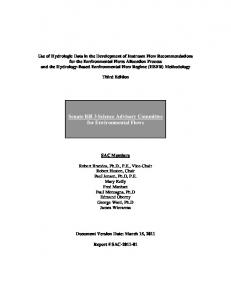 Senate Bill 3 Science Advisory Committee for Environmental Flows