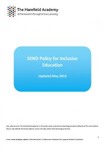 SEND Policy for Inclusive Education