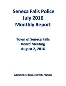 Seneca Falls Police July 2016 Monthly Report