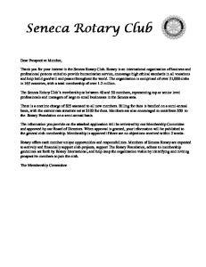 Seneca Rotary Club. The Membership Committee. Dear Prospective Member,