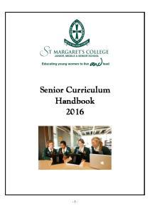 Senior Curriculum Handbook 2016