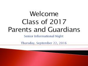 Senior Informational Night. Thursday, September 22, 2016